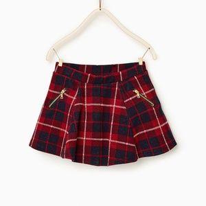 Zara Girls Plaid Skater Skirt